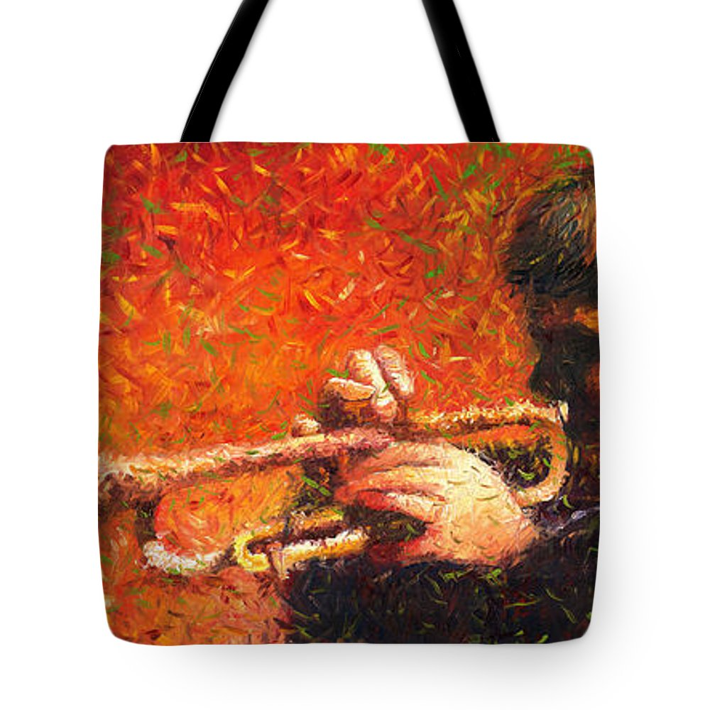 Jazz Tote Bag featuring the painting Jazz Trumpeter by Yuriy Shevchuk
