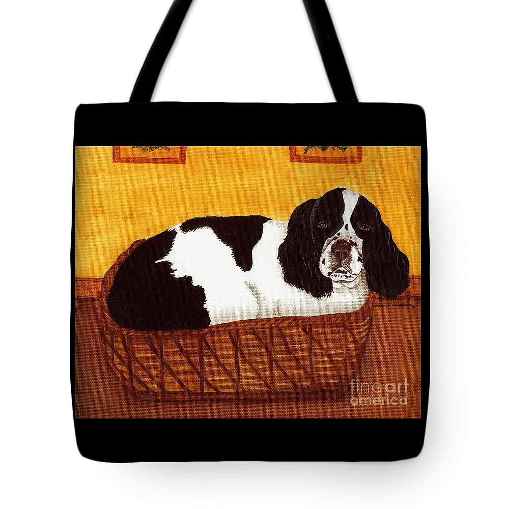 Cocker Spaniel Tote Bag featuring the painting Jd In The Cat Bed by Sue Martin