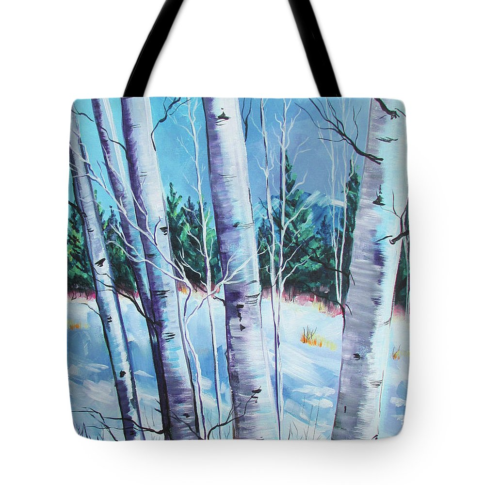 Mountain Landscape Snow Covered Mountains Aspens Aspen Trees Winter Wonderland Cool Mountains Blue Purple Skiers Paradise Jemez Mountains Bare Branches Pine Trees And Mountains Blue Sky Snow White Bark. Tote Bag featuring the painting Jemez Mountain Moment by Chris Pennington