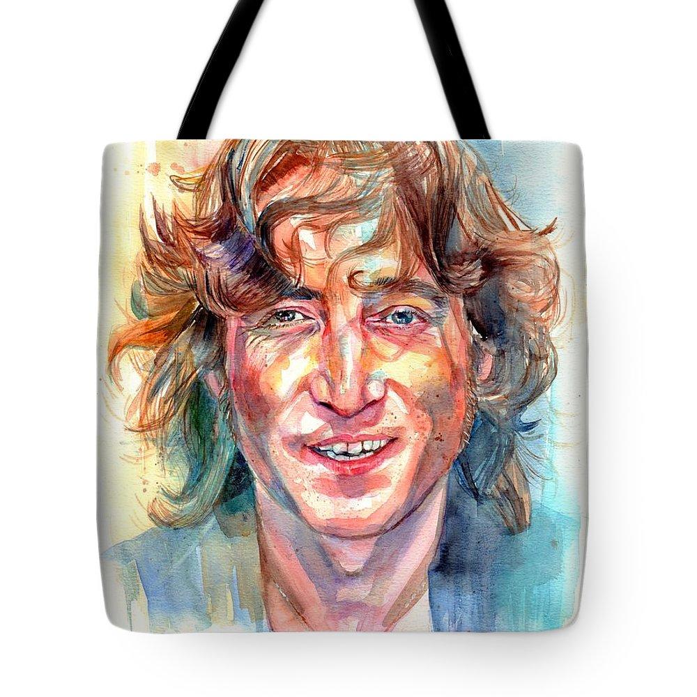 John Lennon Tote Bag featuring the painting John Lennon portrait by Suzann Sines