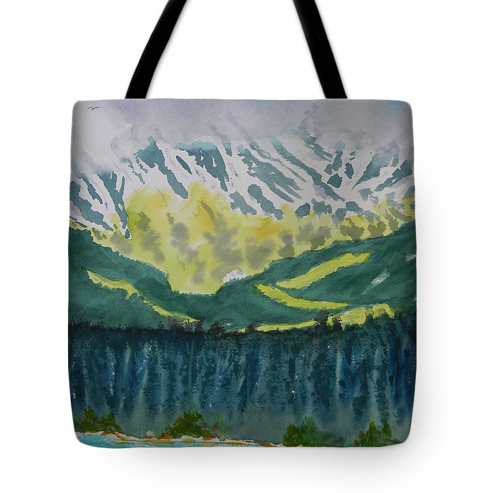 Juneau Landscape Tote Bag featuring the painting Juneau Landscape by Warren Thompson