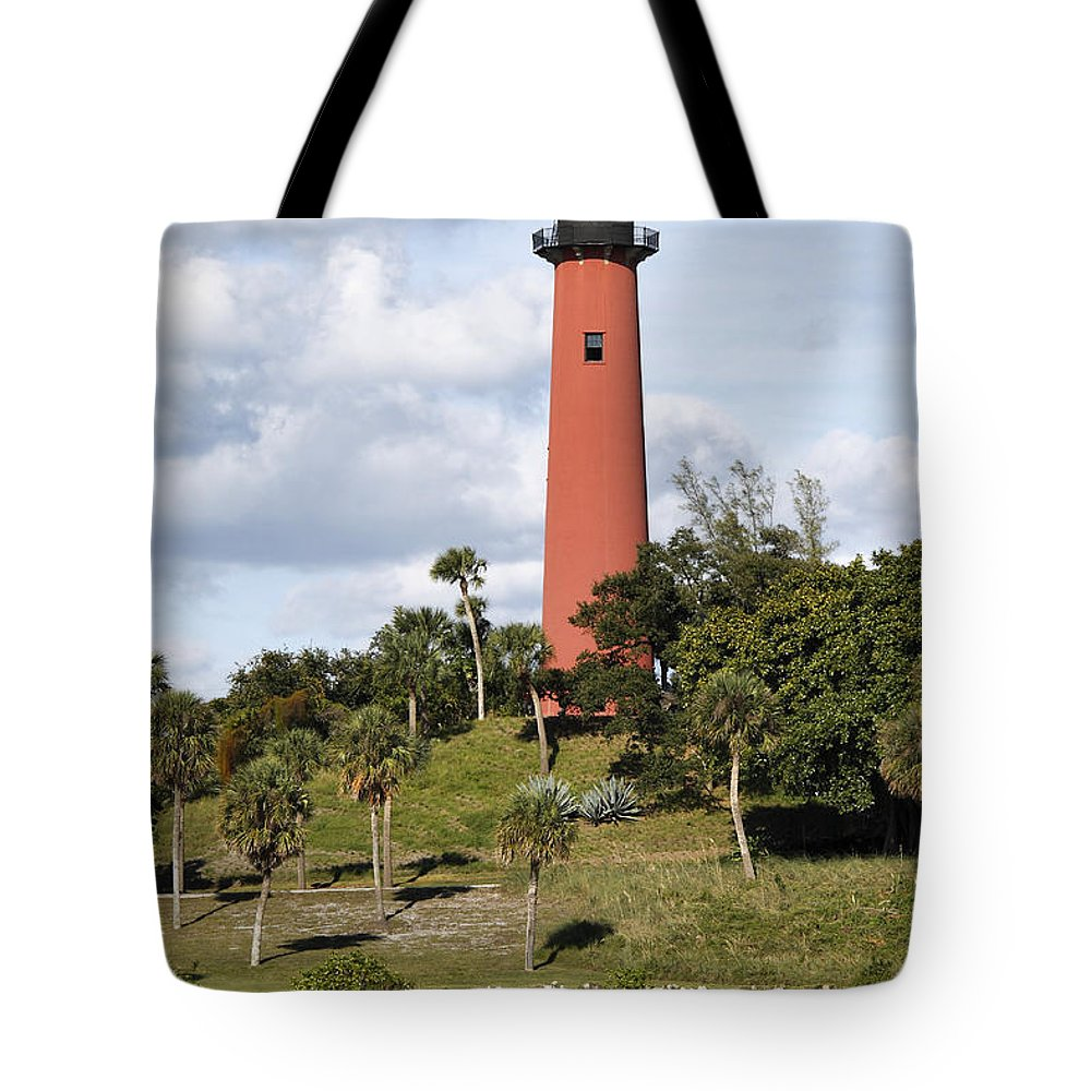 Beacon Tote Bag featuring the photograph Jupiter Lighthouse by Rudy Umans