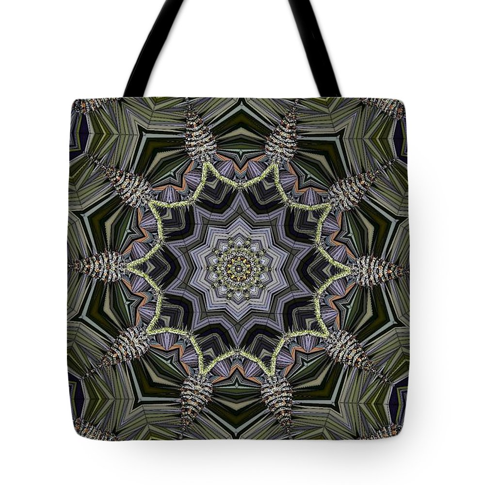 Kaleidoscope Tote Bag featuring the digital art Kaleidoscope 96 by Ron Bissett