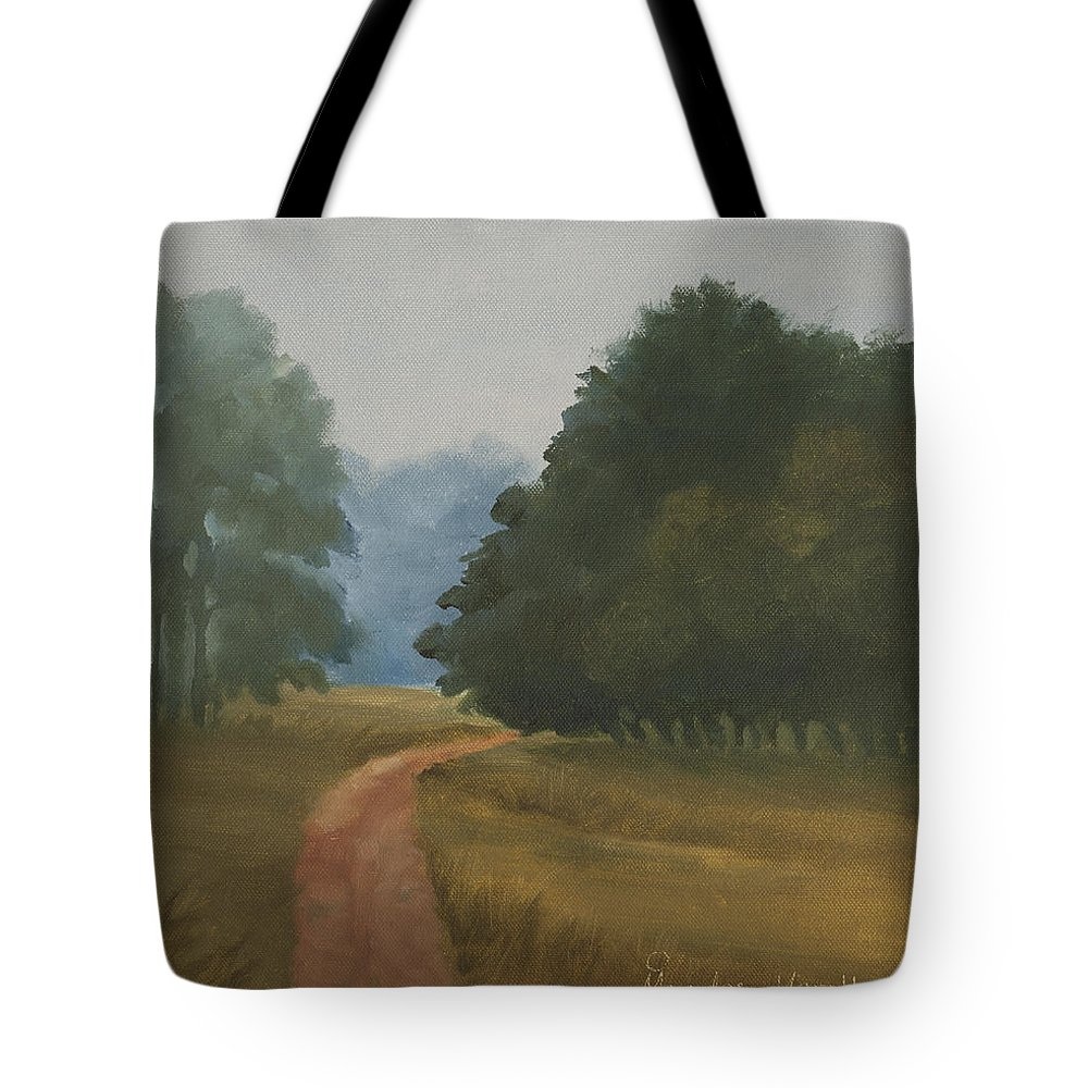 Landscape Tote Bag featuring the painting Kanha Morning by Mandar Marathe