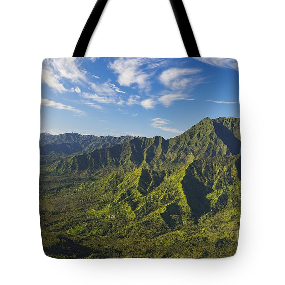 Above Tote Bag featuring the photograph Kauai Aerial by Dana Edmunds - Printscapes