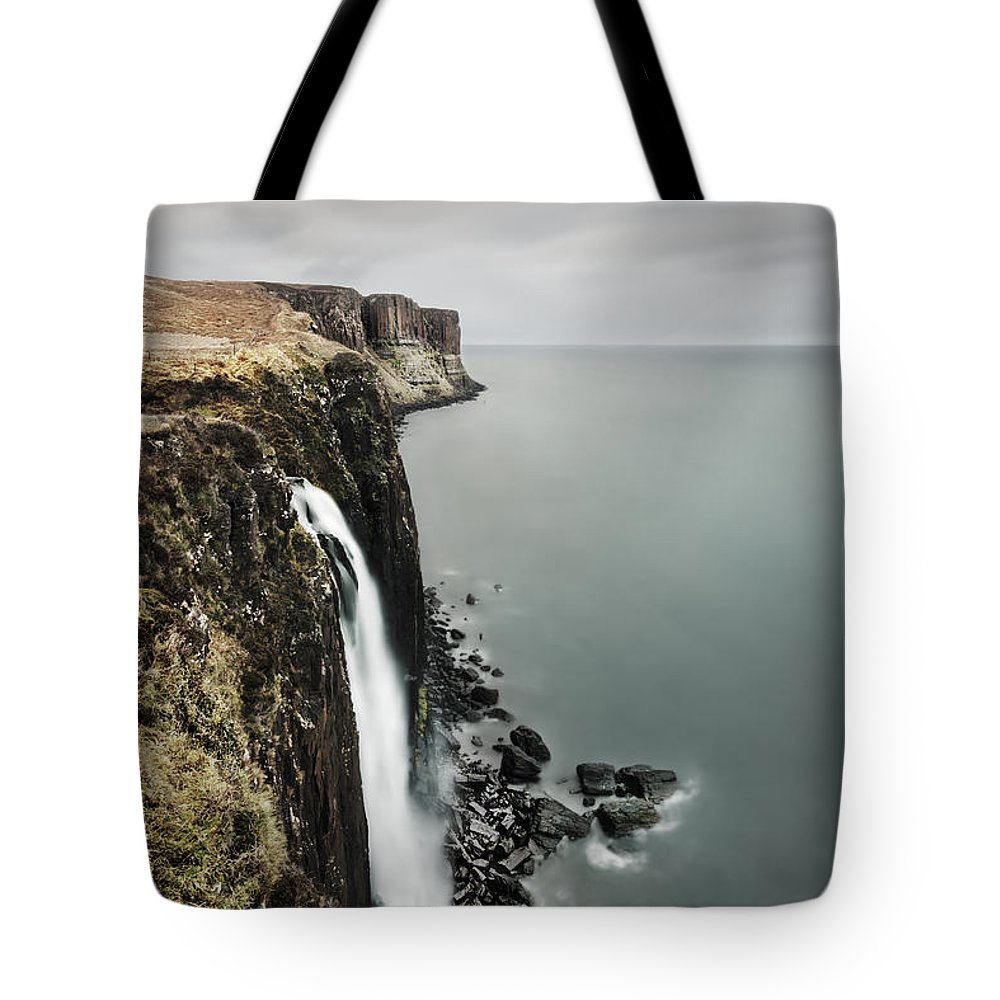 Waterfall Tote Bag featuring the photograph Kilt Rock Waterfall - Isle Of Skye by Rod McLean