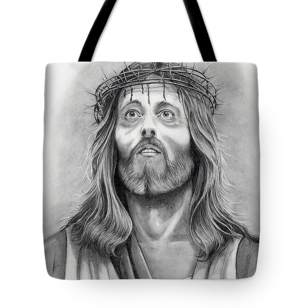 Jesus Christ Tote Bag featuring the drawing King Of Kings by Murphy Elliott