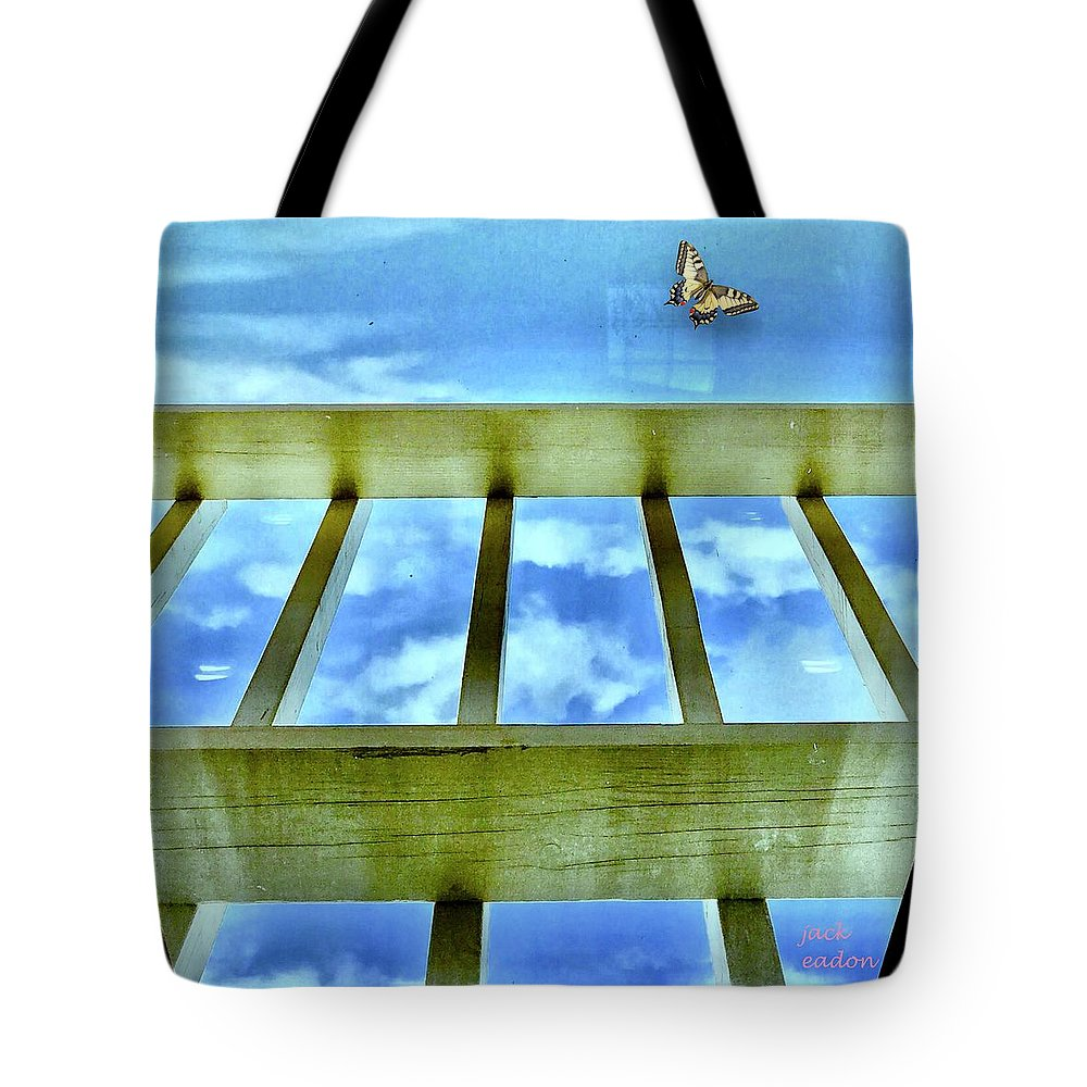 Sky Tote Bag featuring the photograph kingdom of Sky by Jack Eadon