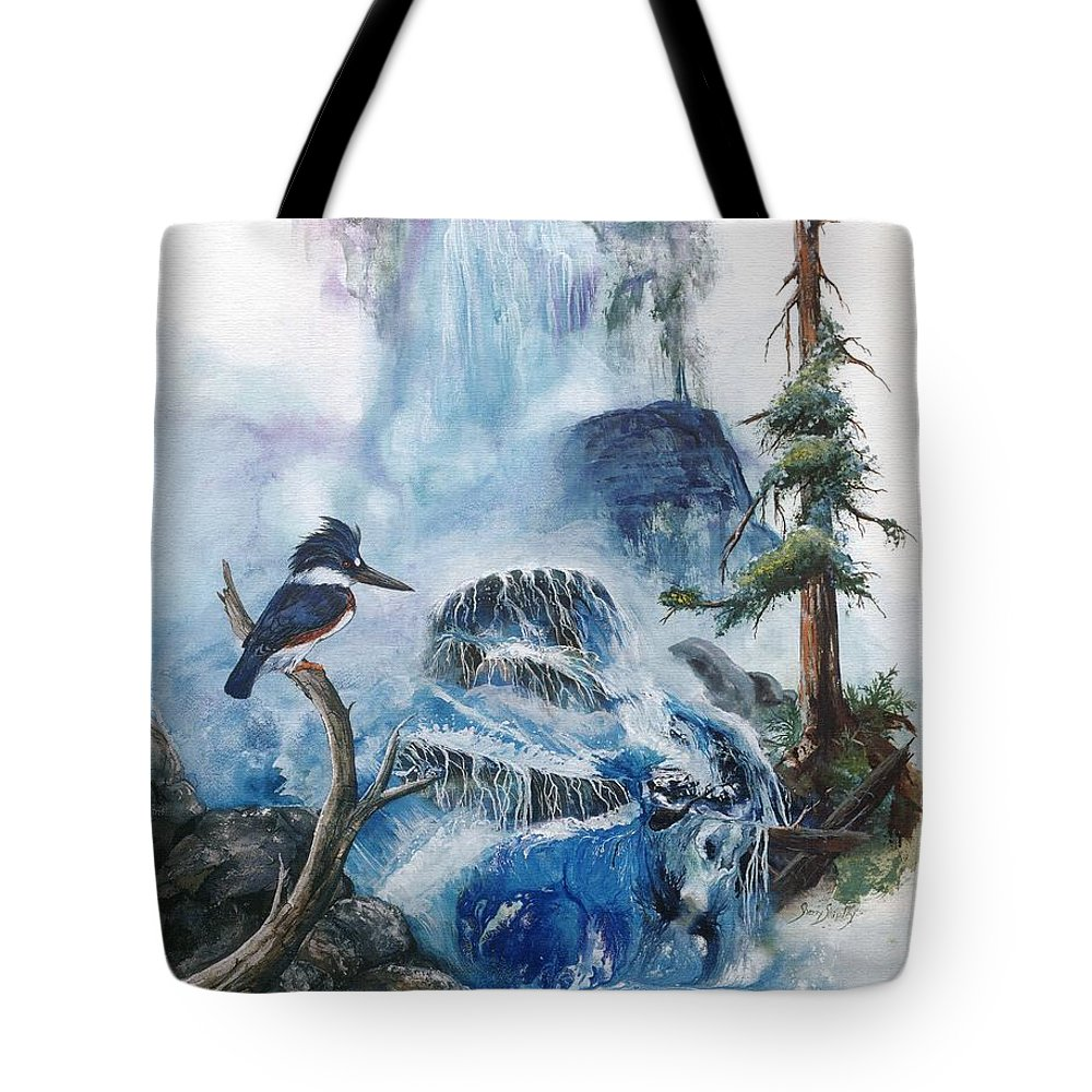 Kingfisher Tote Bag featuring the painting Kingfisher's Realm by Sherry Shipley