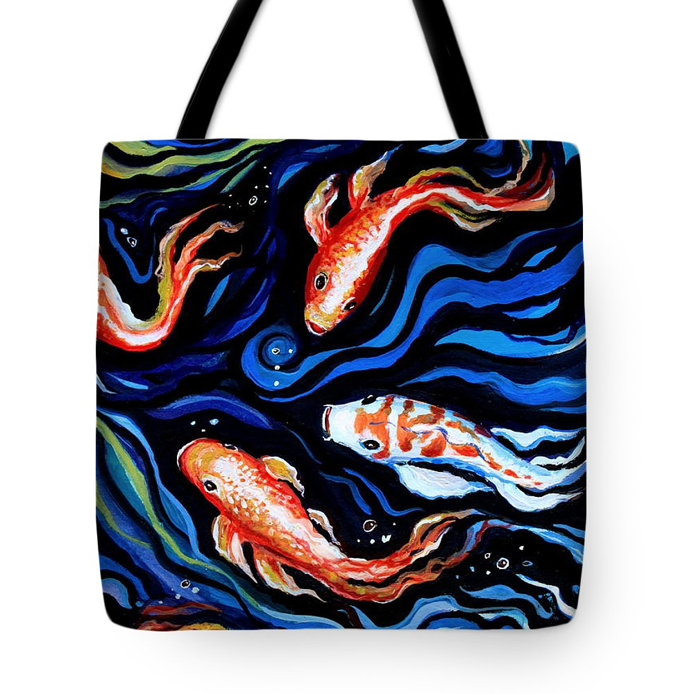 Koi Fish Tote Bag featuring the painting Koi Fish In Ribbons Of Water by Elizabeth Robinette Tyndall