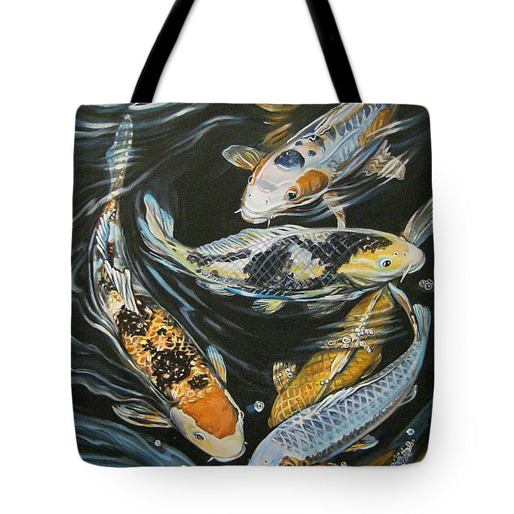 Fish Tote Bag featuring the painting Koi Pond by Diann Baggett