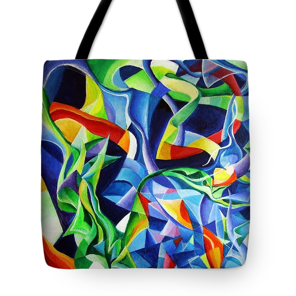 Claude Debussy Acrylic Abstract Pens Music Tote Bag featuring the painting La Mer by Wolfgang Schweizer