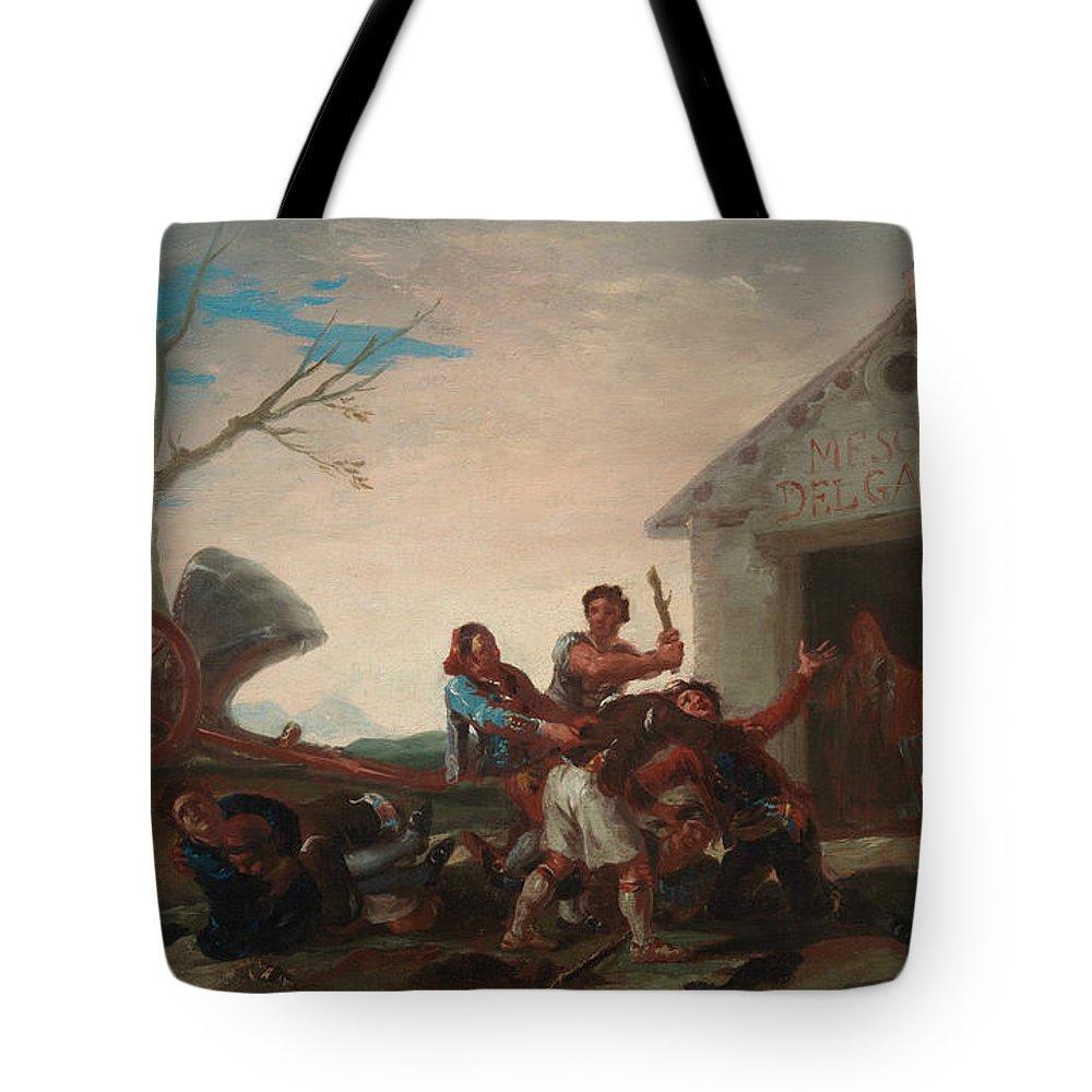 Europe Tote Bag featuring the painting La Rina En El Meson Del Gallo by Francisco Goya