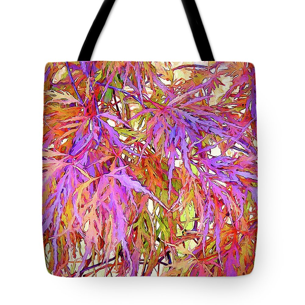 Leaves Tote Bag featuring the digital art Lacy Maple Leaves by Casey Heisler