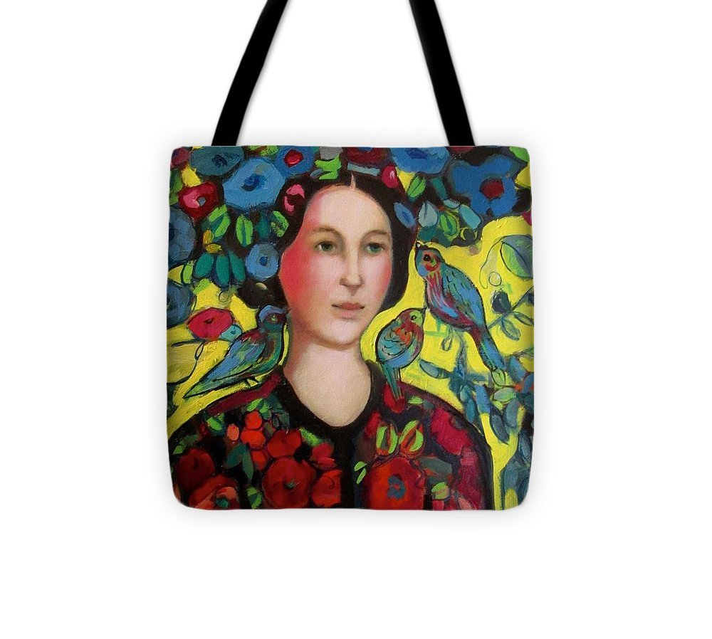 Marilene Sawaf Tote Bag featuring the painting Lady and hat by Marilene Sawaf