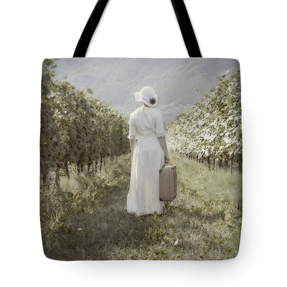 Female Tote Bag featuring the photograph Lady In Vineyard by Joana Kruse