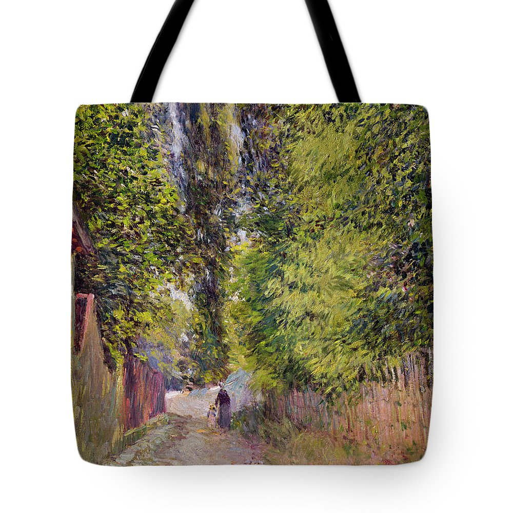 Landscape Tote Bag featuring the painting Landscape Near Louveciennes by Alfred Sisley