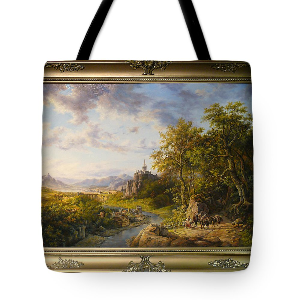 Пейзаж Tote Bag featuring the painting Landscape With Castle by Iakushchenko Sergei