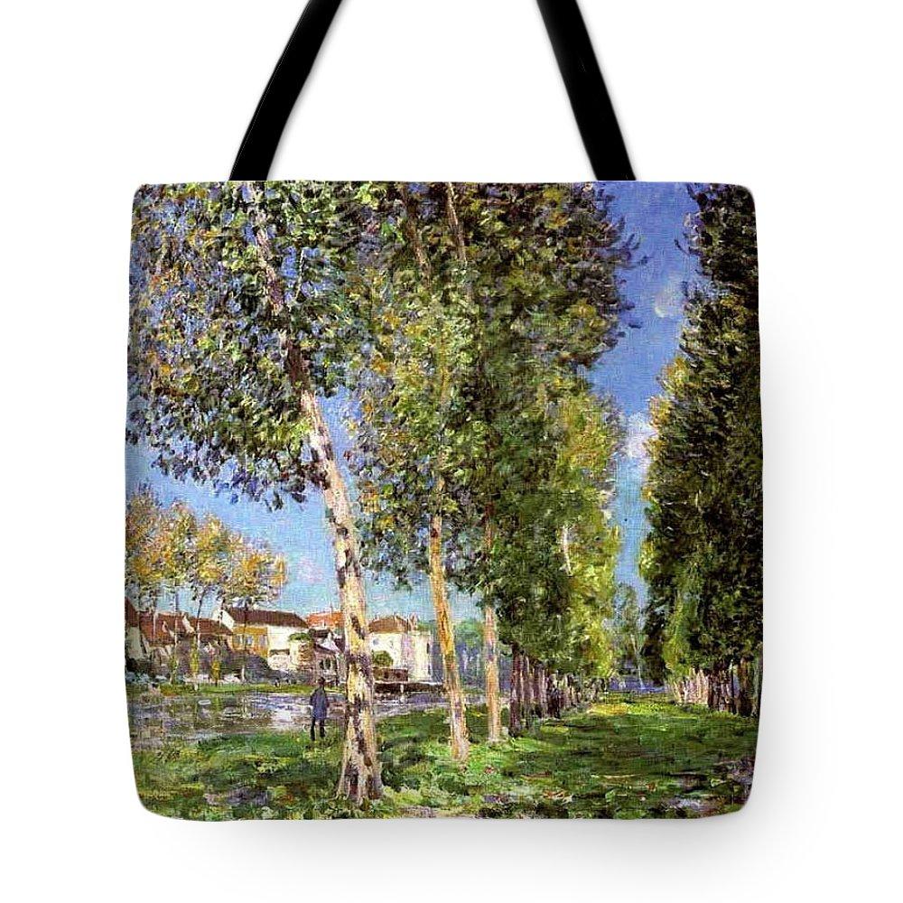 Lane Of Poplars At Moret-sur-loing Tote Bag featuring the painting Lane Of Poplars At Moret by MotionAge Designs
