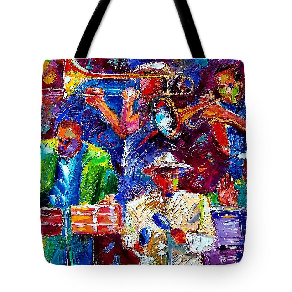Jazz Art Tote Bag featuring the painting Latin Jazz by Debra Hurd