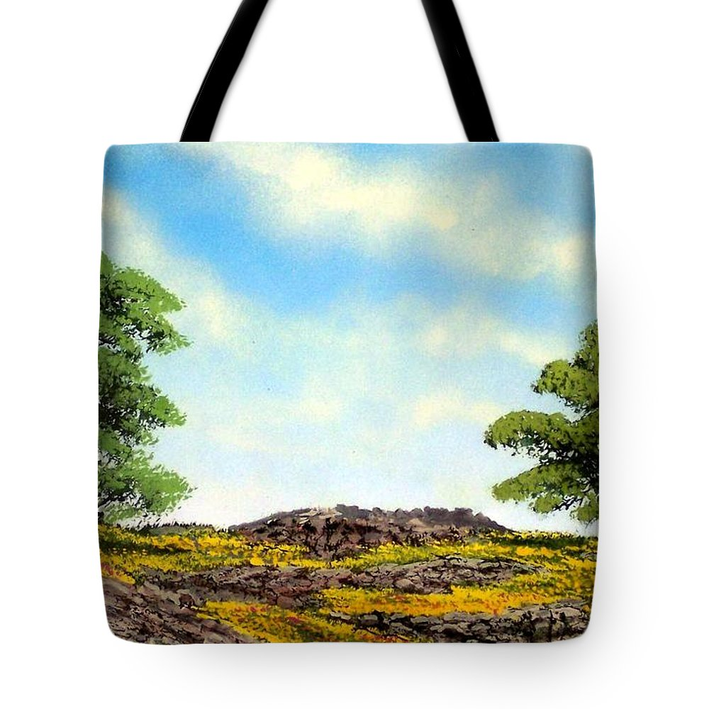 Wildflowers Tote Bag featuring the painting Lava Rock And Flowers by Frank Wilson