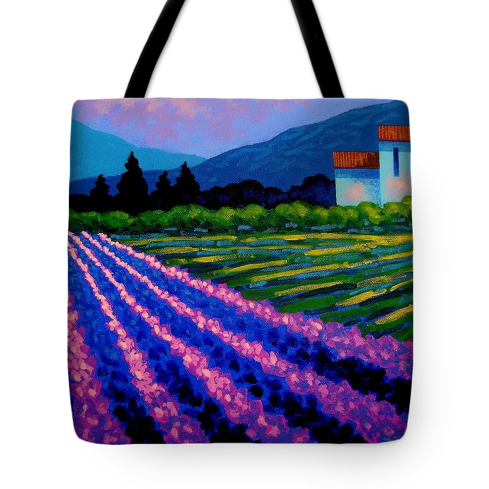 Landscape Tote Bag featuring the painting Lavender Field France by John Nolan