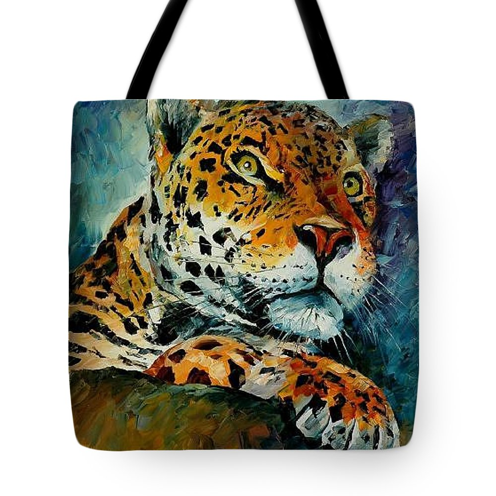 Animal Tote Bag featuring the painting Leopard by Leonid Afremov