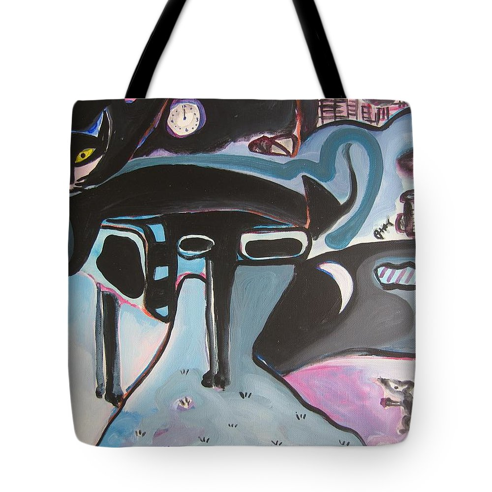 Cat Paintings Tote Bag featuring the painting Let Me Out by Seon-Jeong Kim