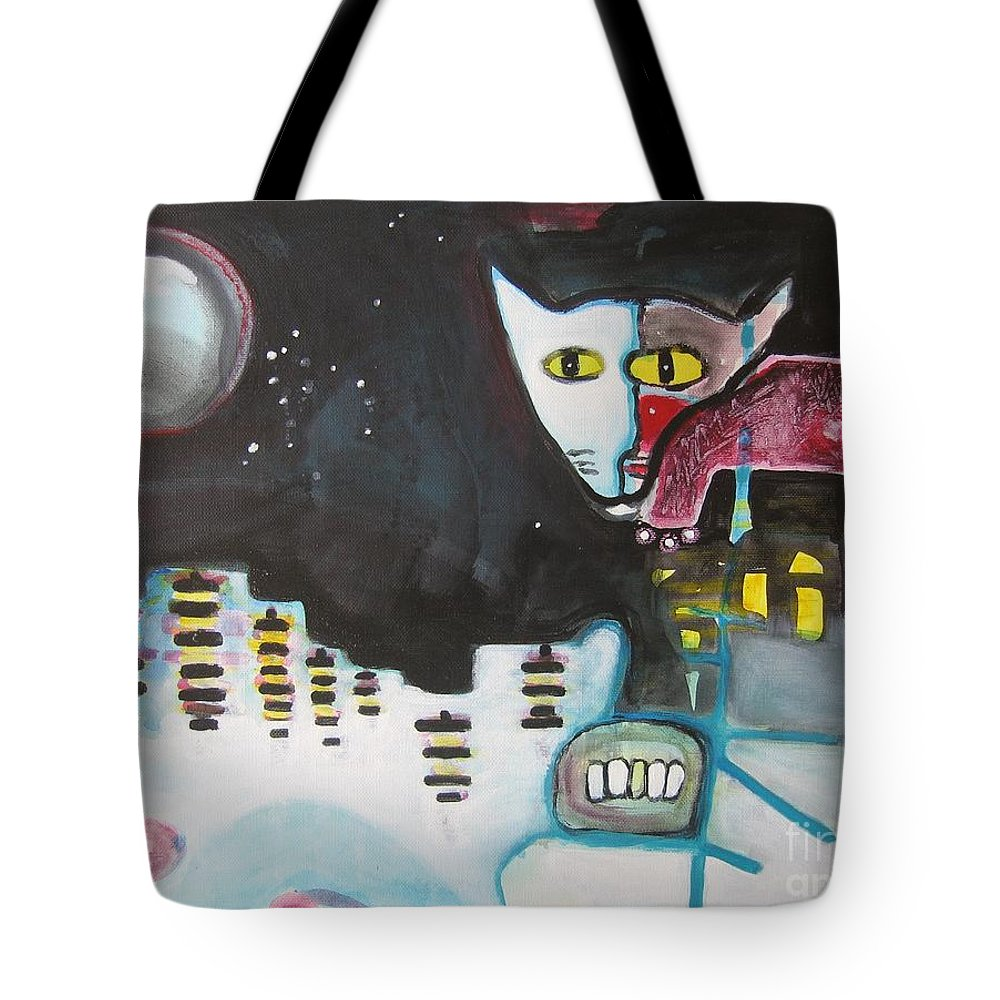 Cat Paintings Tote Bag featuring the painting Let Me Out3 by Seon-Jeong Kim