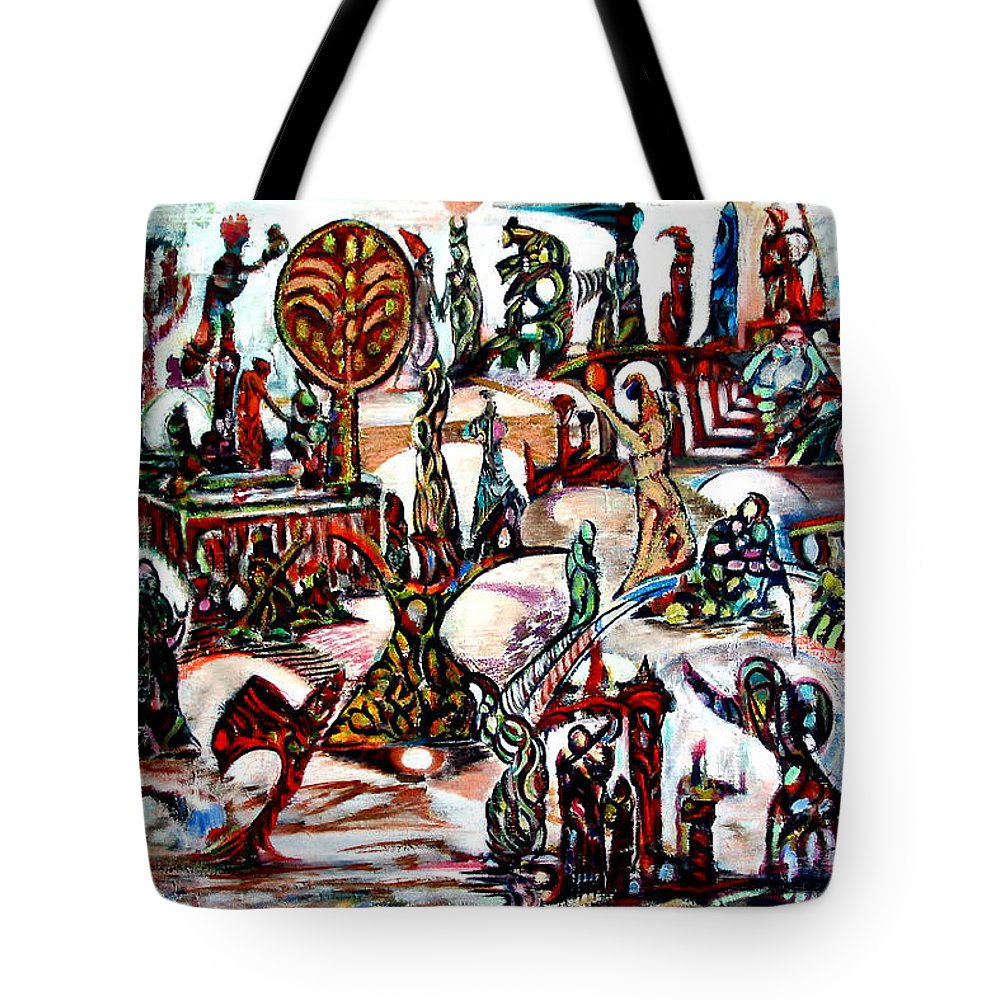 Abstract Imagination Palestine Tote Bag featuring the painting Life In Palestine by Robert Gravelin
