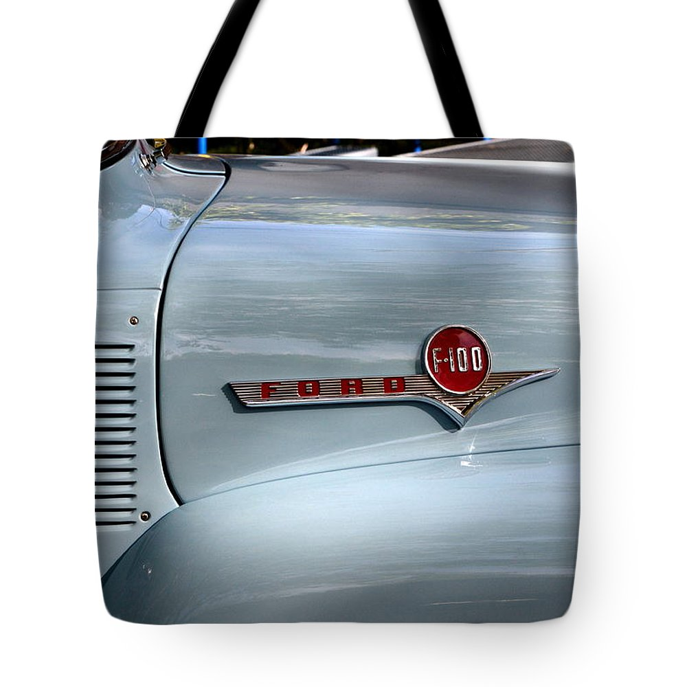 Tote Bag featuring the photograph Light Blue Ford Pickup by Dean Ferreira