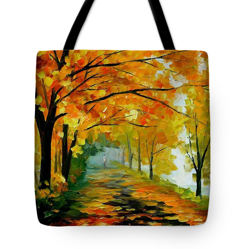 Afremov Tote Bag featuring the painting Light In The Fog by Leonid Afremov