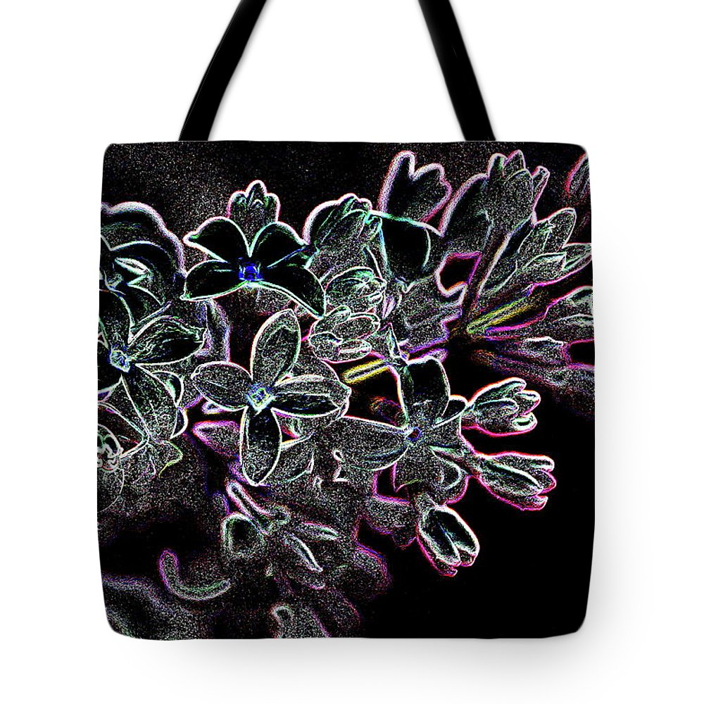 Flower Tote Bag featuring the pyrography Lilacs by Harry Moulton