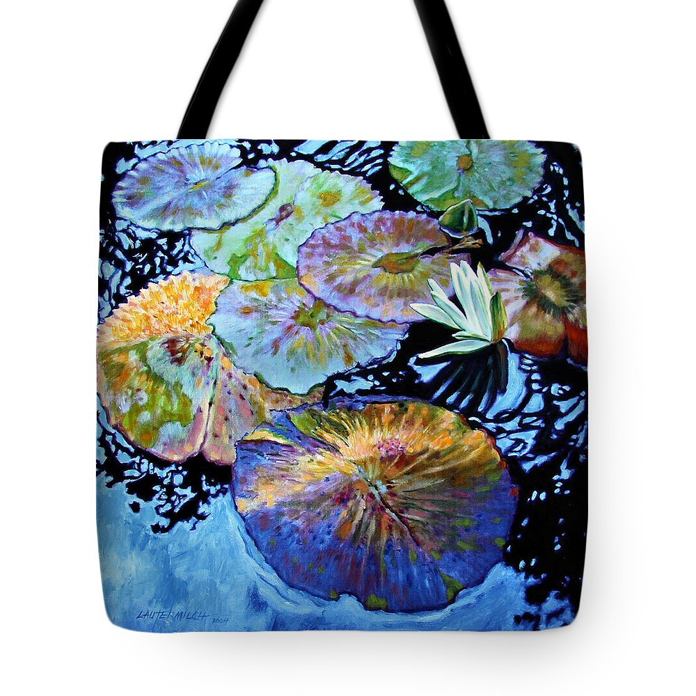 Water Lilies Tote Bag featuring the painting Lily Pad Palettes by John Lautermilch