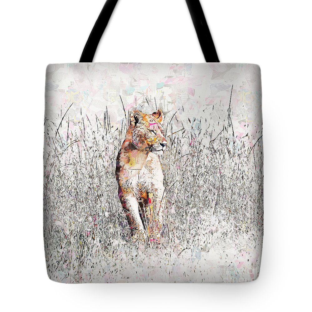 Lion Tote Bag featuring the photograph lioness Masai Mara, Kenya by Humorous Quotes