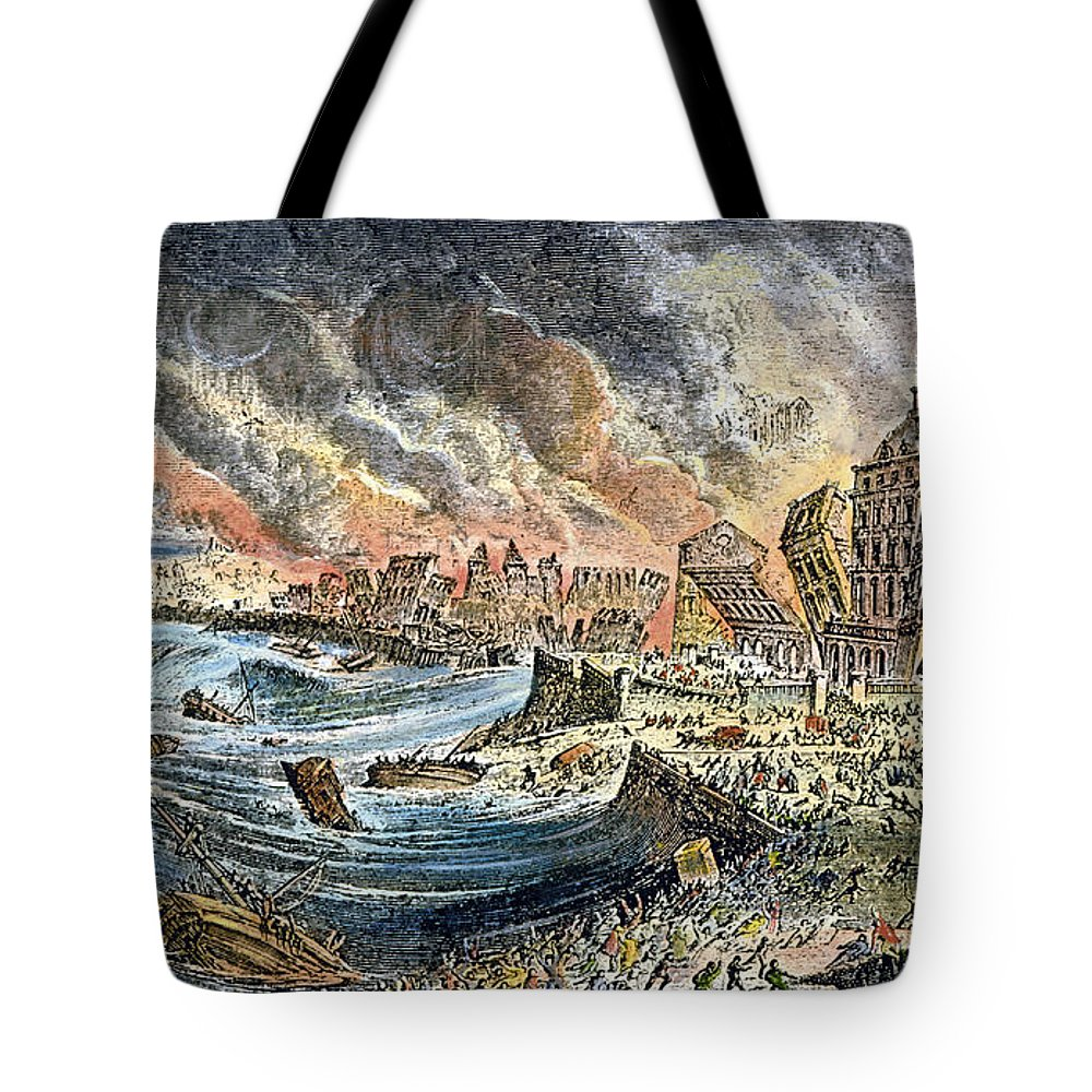 1755 Tote Bag featuring the photograph Lisbon Earthquake, 1755 by Granger