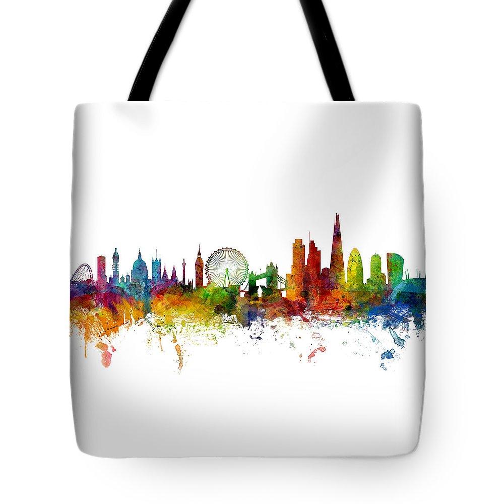 London Skyline Digital Art Tote Bags