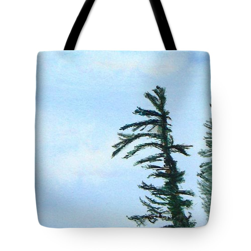 Tree Tote Bag featuring the painting Lone Sentinel by Peggy King