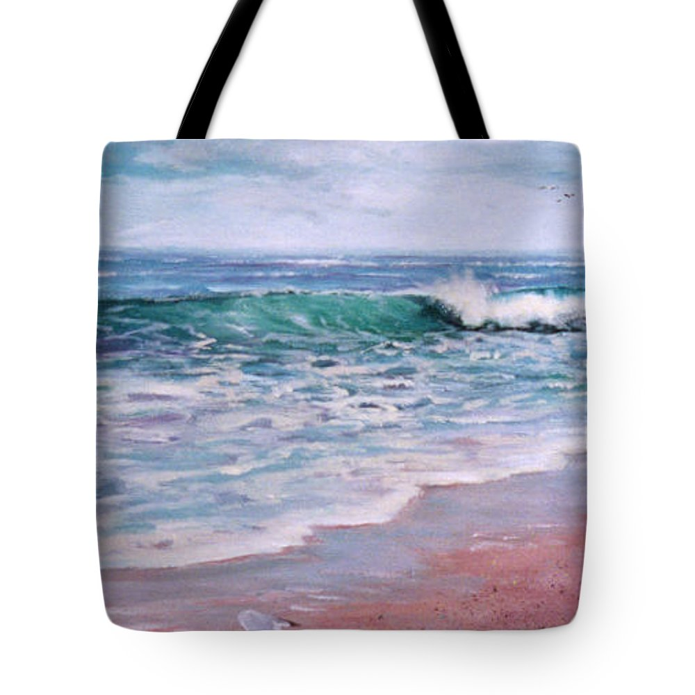 Acrylic Painting Tote Bag featuring the painting Lonely Gull by Laura Lee Zanghetti