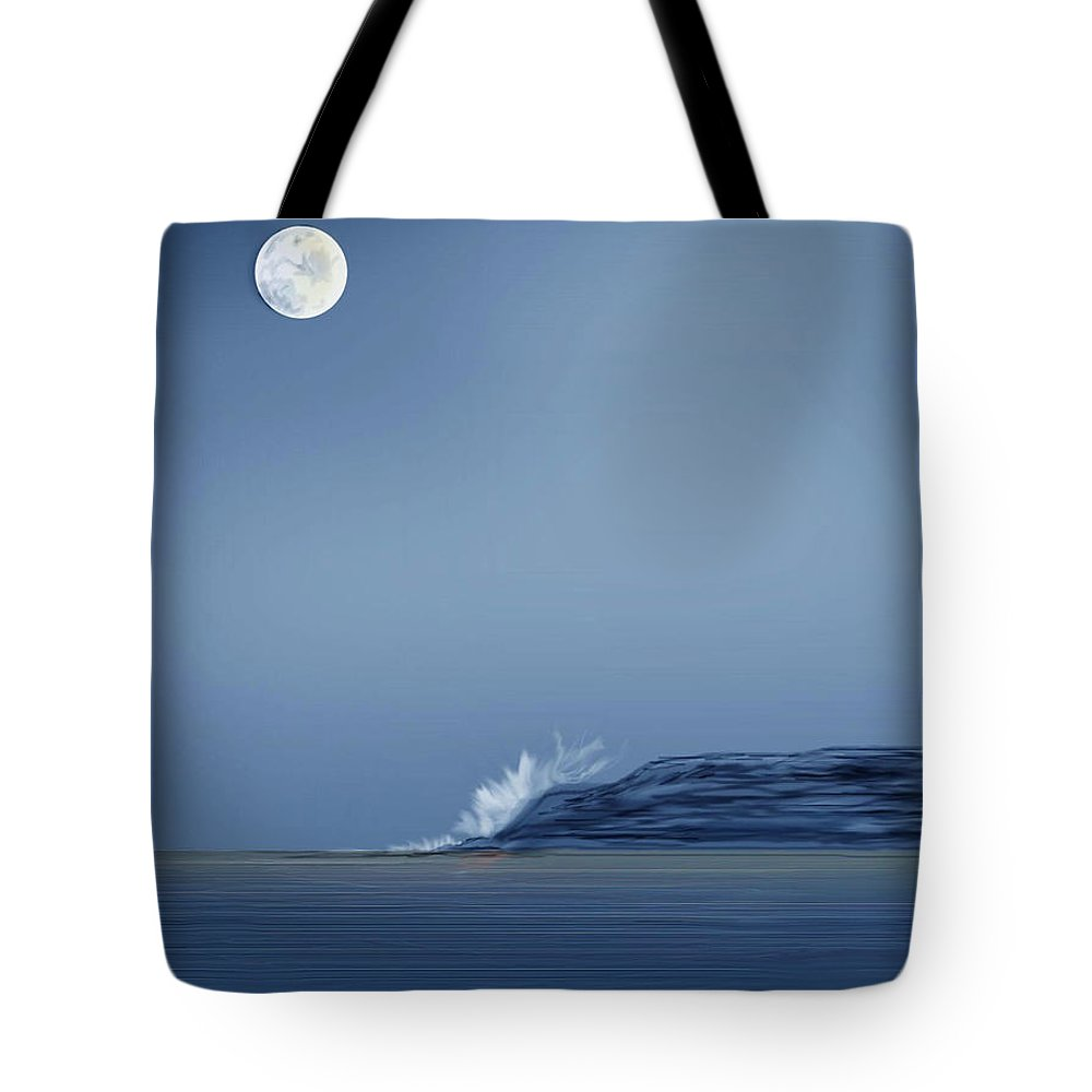 Seascape Tote Bag featuring the painting Looking At The Moon by Anne Norskog