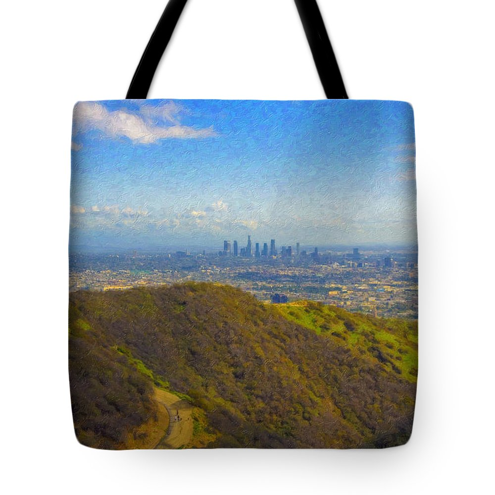 Los Angeles Ca Skyline Hollywood Runyon Canyon Hiking Trail Tote Bag featuring the photograph Los Angeles Ca Skyline Runyon Canyon Hiking Trail by David Zanzinger
