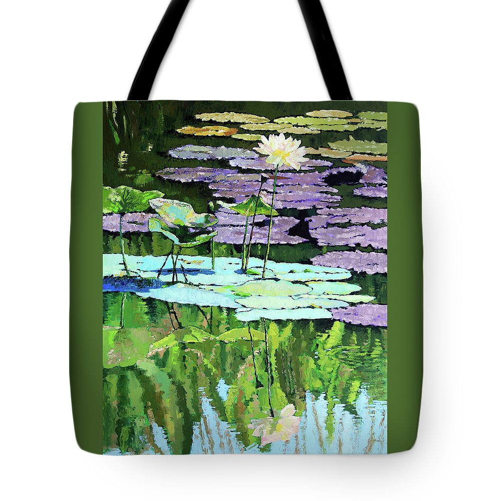 Lotus Tote Bag featuring the painting Lotus Reflections by John Lautermilch