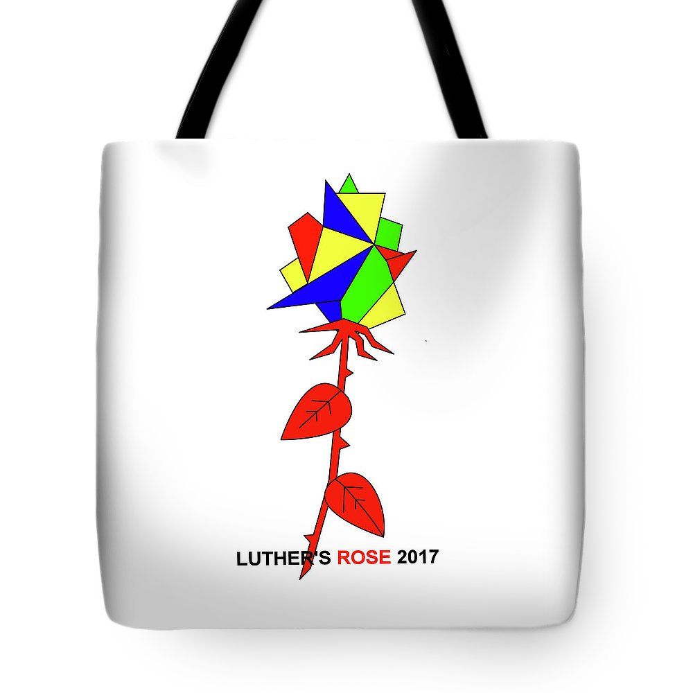 New Rose Tote Bag featuring the mixed media Luthers New Rose by Asbjorn Lonvig