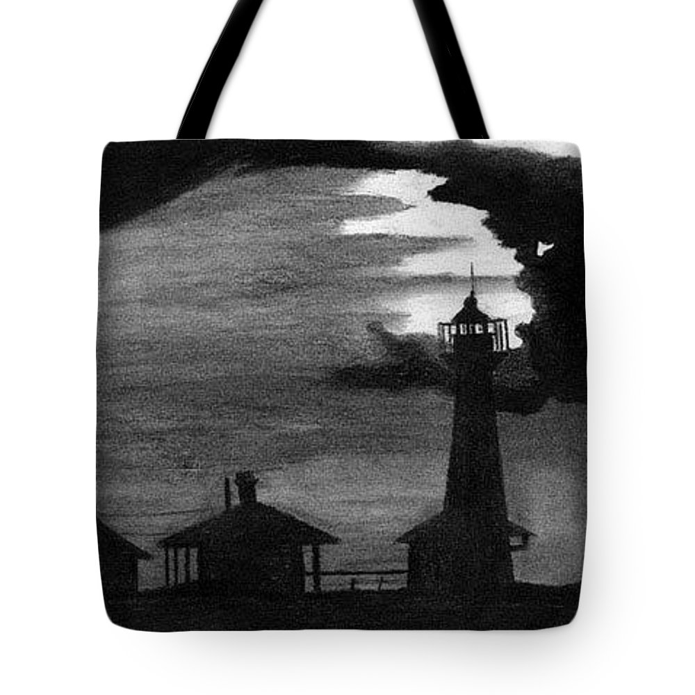 Landscape Tote Bag featuring the drawing Lydia Ann Lighthouse by Adam Johnson