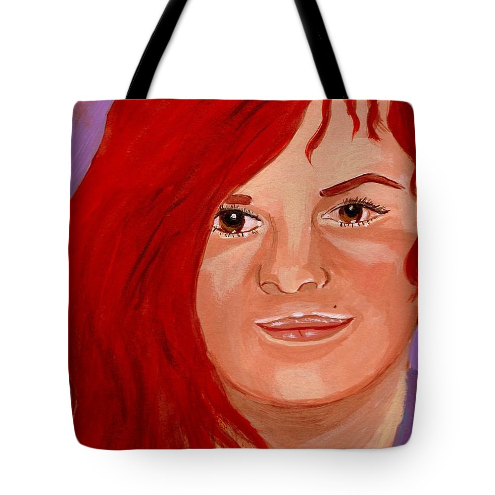 Faces Tote Bag featuring the painting Lydia by Rusty Gladdish