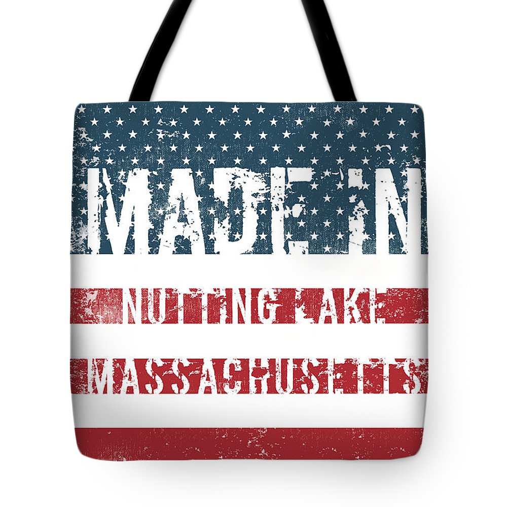 Nutting Lake Tote Bag featuring the digital art Made In Nutting Lake, Massachusetts by Tinto Designs