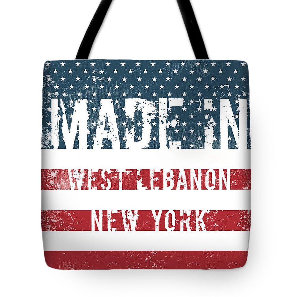 West Lebanon Tote Bag featuring the digital art Made In West Lebanon, New York by Tinto Designs
