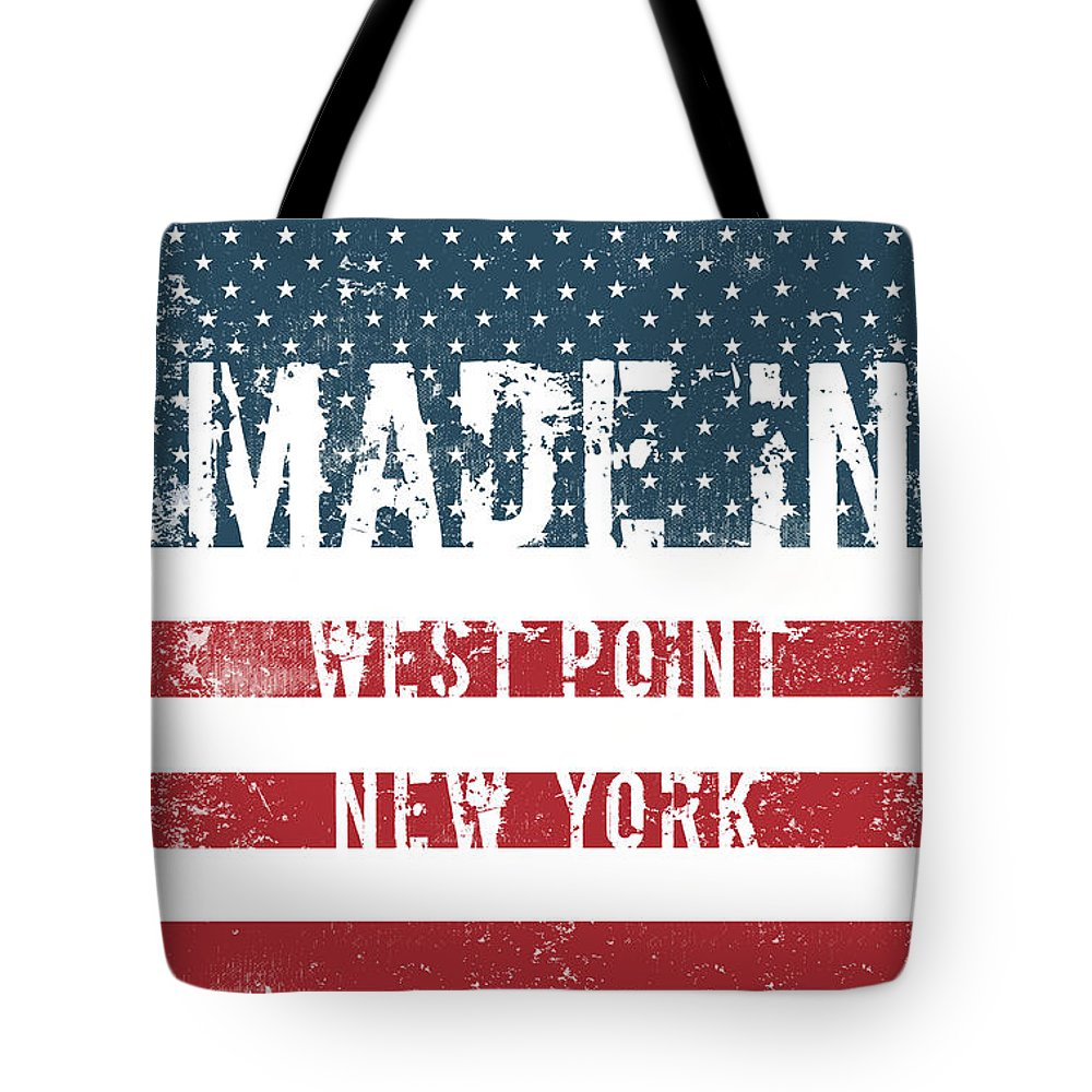 West Point Tote Bag featuring the digital art Made In West Point, New York by Tinto Designs