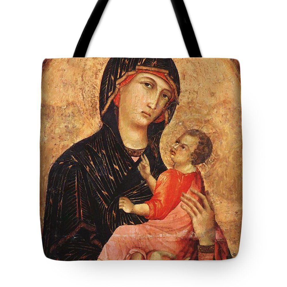 Madonna Tote Bag featuring the painting Madonna And Child by Duccio