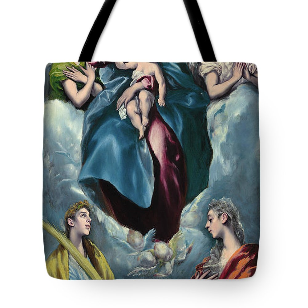 Blessed Virgin Mary Tote Bag featuring the painting Madonna And Child With Saint Martina And Saint Agnes by El Greco